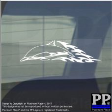Dolphin Flame- Vinyl Sticker-Car Window Graphic Decal Sign Animal,Mammal,Aquatic